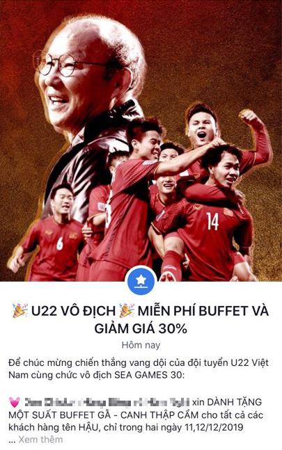 Hàng quán đua nhau giảm giá ăn mừng đội tuyển bóng đá Việt Nam giành huy chương vàng SEA Games - Ảnh 3.