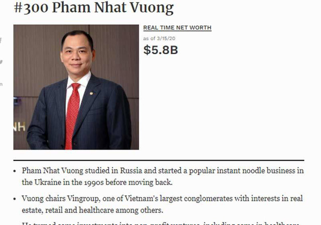 Xếp hạng tỷ phú Việt, biến động giữa nỗi lo lan rộng toàn cầu - 1