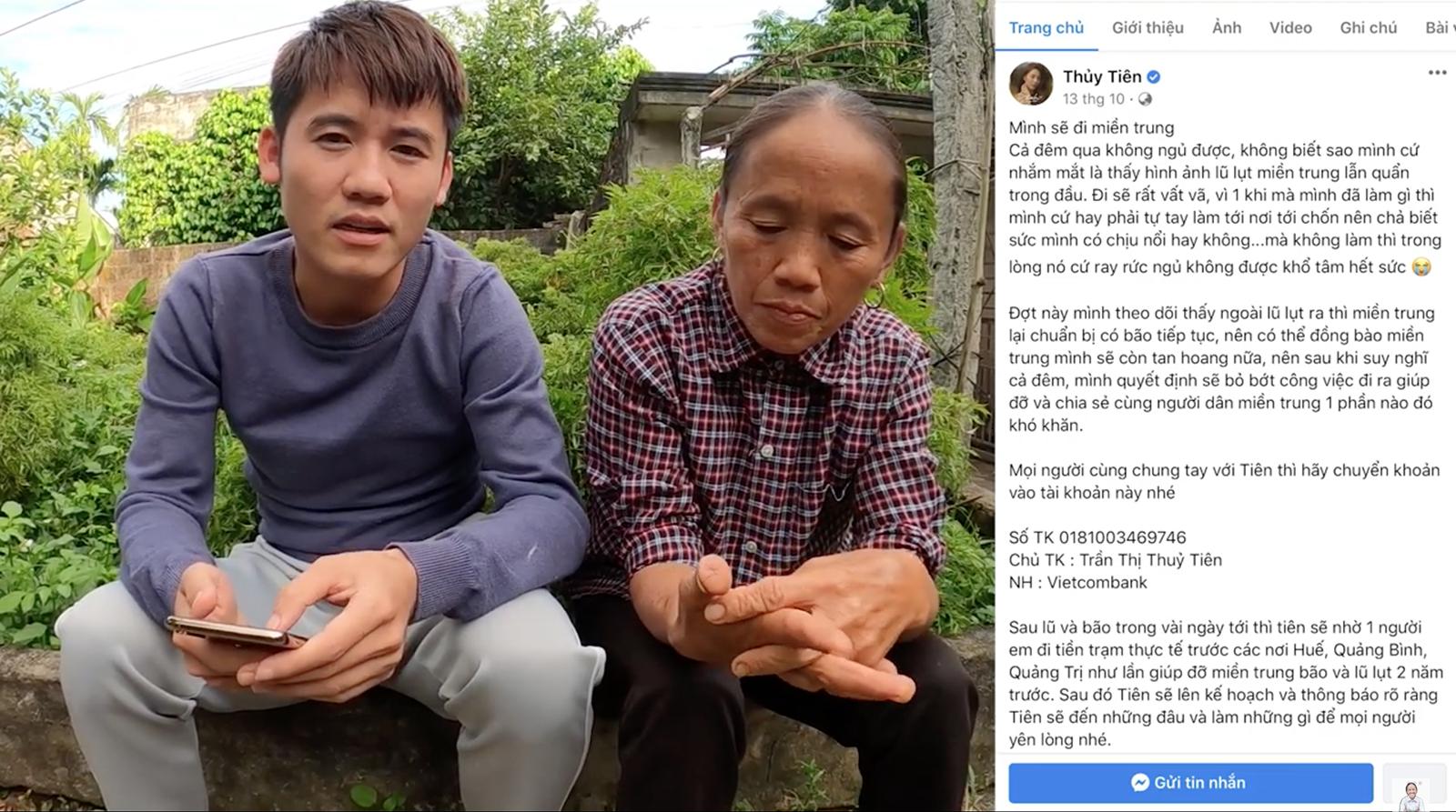 Bà Tân Vlog gửi thẳng 50 triệu đồng cho Thuỷ Tiên để ủng hộ cứu trợ đồng bào miền Trung - Ảnh 1.