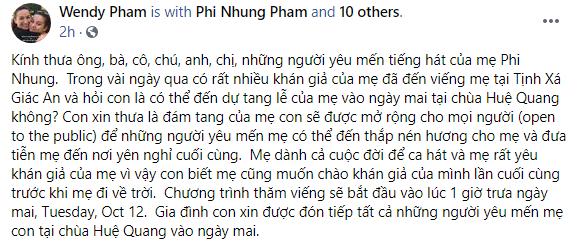 Con gái ruột Phi Nhung có thông báo mới về việc tổ chức tang lễ cho cố ca sĩ - Ảnh 2.