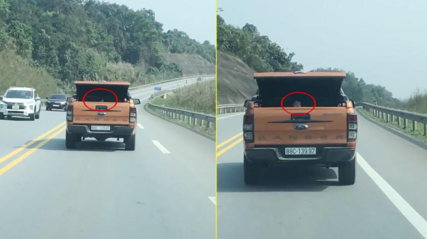 Xe bán tải mở cốp nghênh ngang đi trên Quốc lộ, nhưng nhìn cảnh tượng trong cốp xe ai cũng hoảng sợ - Ảnh 2.