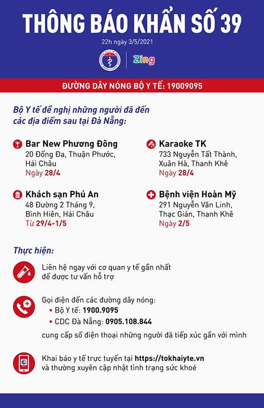 Thông báo khẩn: Tìm người đến 4 địa điểm liên quan đến ca dương tính với SARS-CoV-2 tại Đà Nẵng - Ảnh 1.