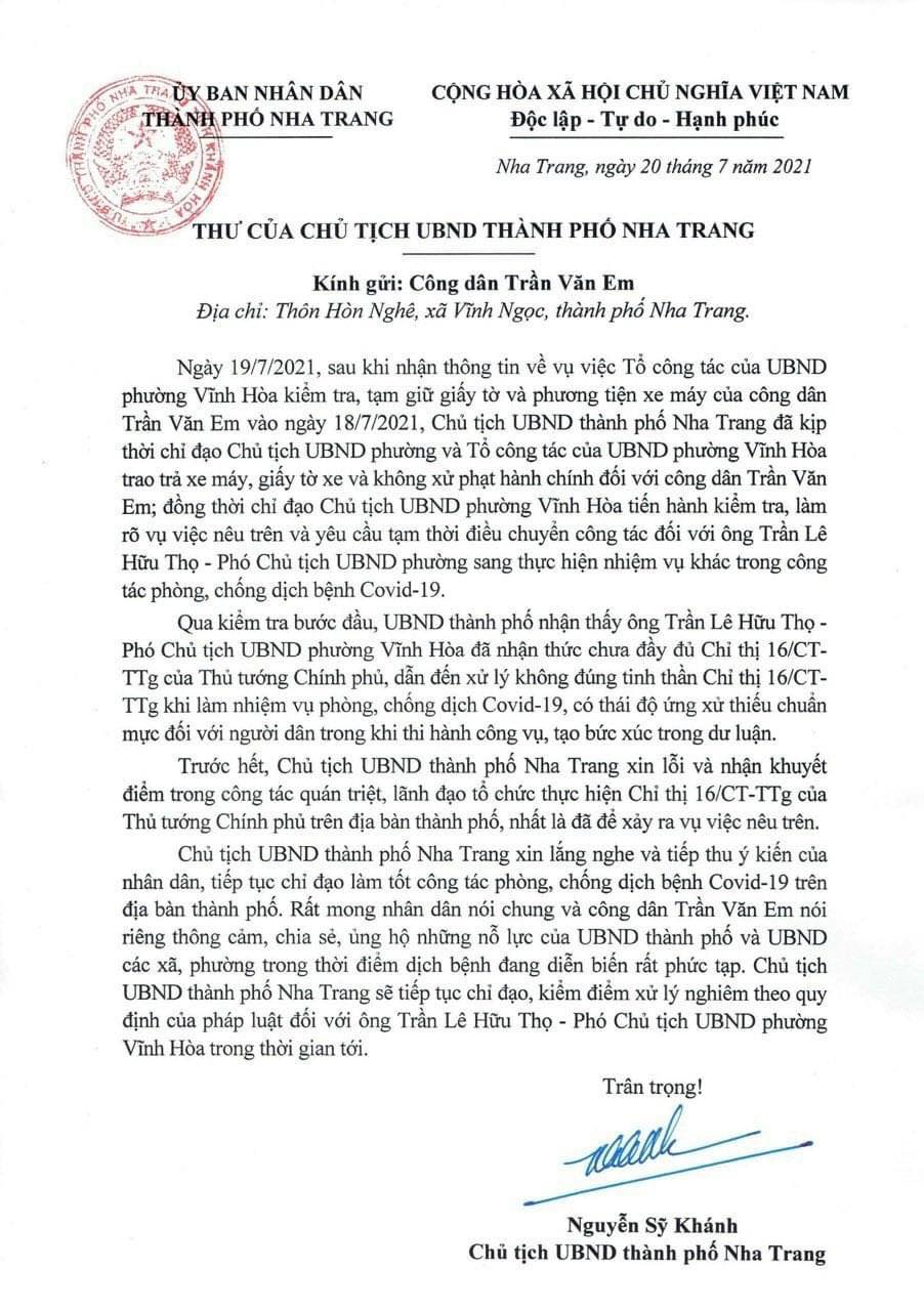 Chủ tịch Nha Trang gửi thư xin lỗi nam công nhân đi mua bánh mì bị xử phạt - Ảnh 1.