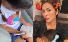Chỉ với 2 bức ảnh, Hà Tăng đã khoe được thái độ của con gái đối với chuyện học hành