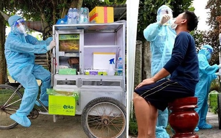 Tận dụng xe bán cá để làm điểm xét nghiệm di động, nhóm tình nguyện viên khiến người dân bật cười
